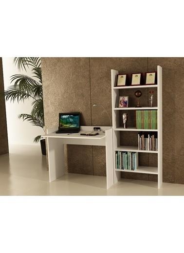 Sanal Mobilya Sirius Kitaplıklı Çalışma Masası 90-6A Beyaz